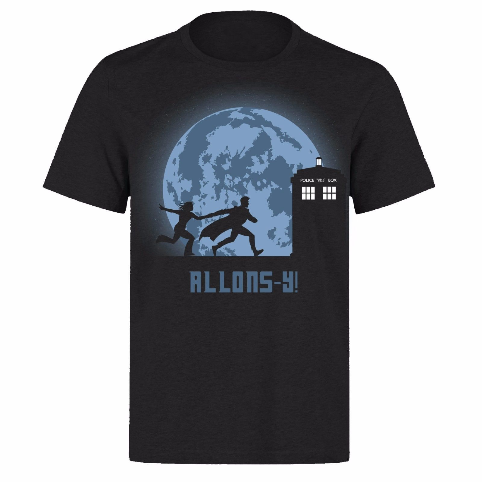 DR WHO LUNA MOON TIME TRAVEL TARDIS DOCTOR WHO UNISEX BLACK PH37 T-SHIRT T Shirts Short Sleeve Leisure Fashion Summer