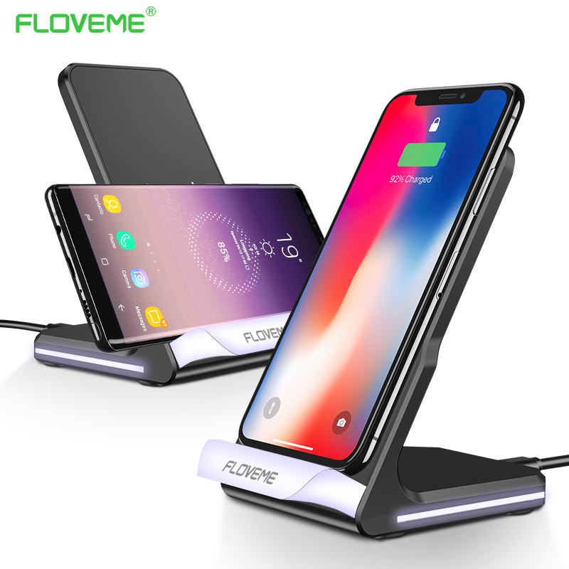 FLOVEME 10 W Qi Caricatore Senza Fili per iPhone X 8 plus LED Ricarica veloce per Samsung Galaxy S8 più S7 s6 Wireless bordo caricatore
