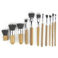 11 Pcs Professional Make Up Tools Pincel Maquiagem Wood Handle Makeup Cosmetic Eyeshadow Foundation Concealer Brush