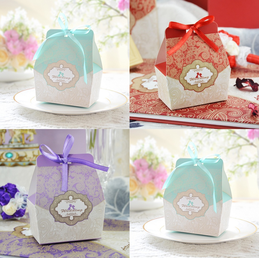 20PCS Tiffany blue / Red / Purple Wedding Favors Candy Boxes Paper ...