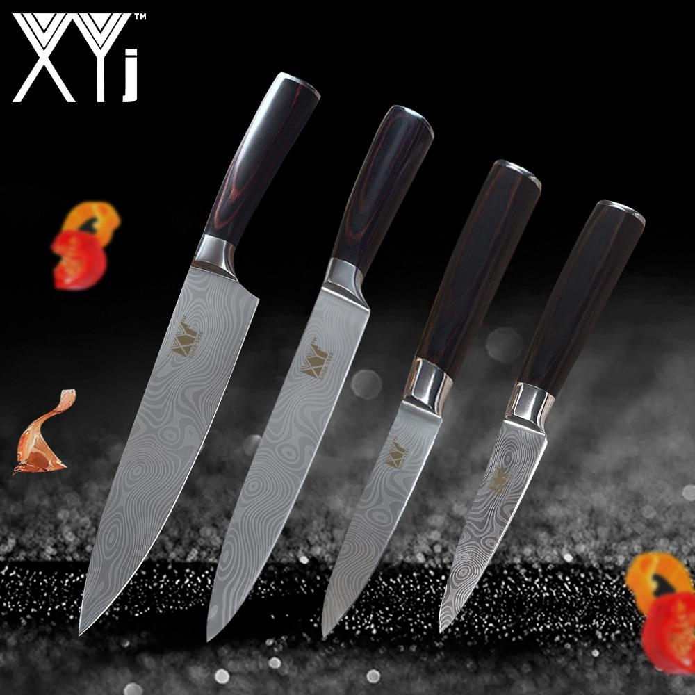 XYj 4 Pcs Couteau de Cuisine Ensemble 7Cr17 Épluchage Utilitaire Chef À Trancher Acier Inoxydable Couteau Couleur Manche En Bois Couteaux De Cuisine Cuisine