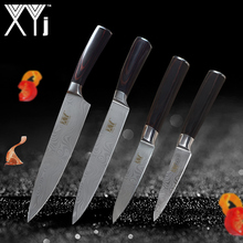 XYj 4Pcs  Kitchen Knife Set 7Cr17 Paring Utility Chef Slicing Stainless Steel Knife Color Wood Handle Cooking Knives Kitchenware