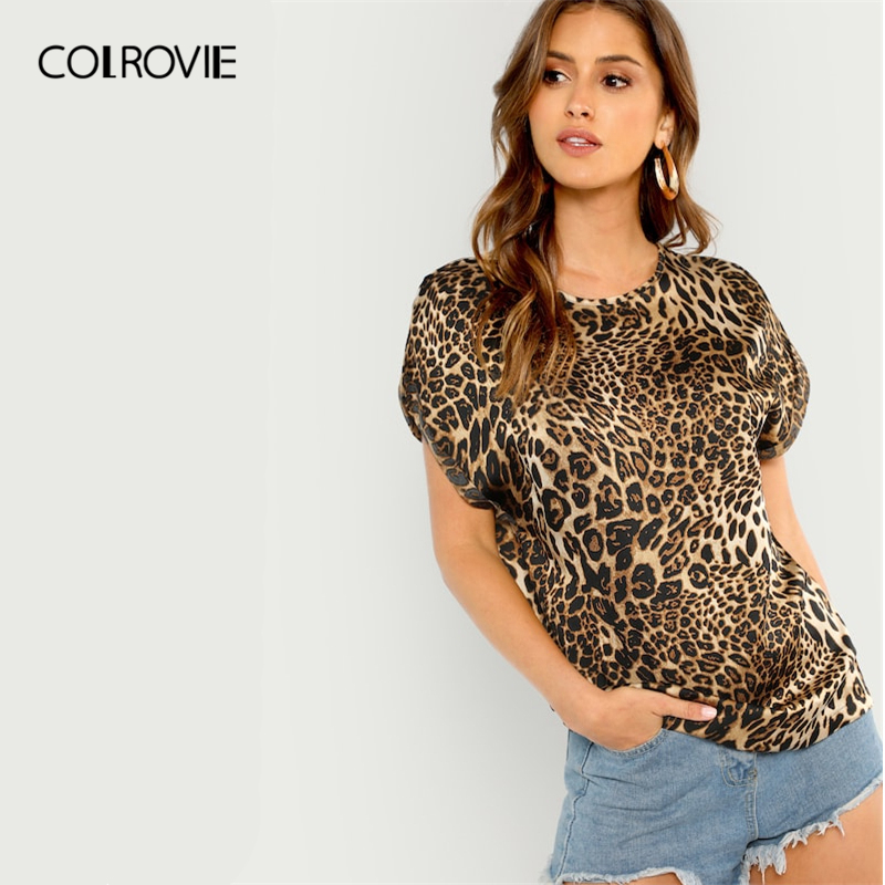 COLROVIE Short Sleeve Leopard Print Casual T-Shirt Women Clothing 2019 Summer Streetwear Casual Basic Shirts Office Ladies Tee
