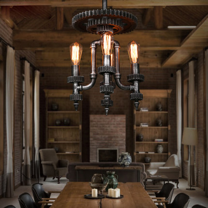 loft industrial style pendant lighting creative wood gear. Black Bedroom Furniture Sets. Home Design Ideas