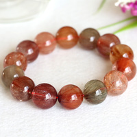 High Quality Natural Rainbow Red Green Yellow Orange Hair Rutile Quartz Stretch Men Bracelet Round Loose Big beads 16mm 04340