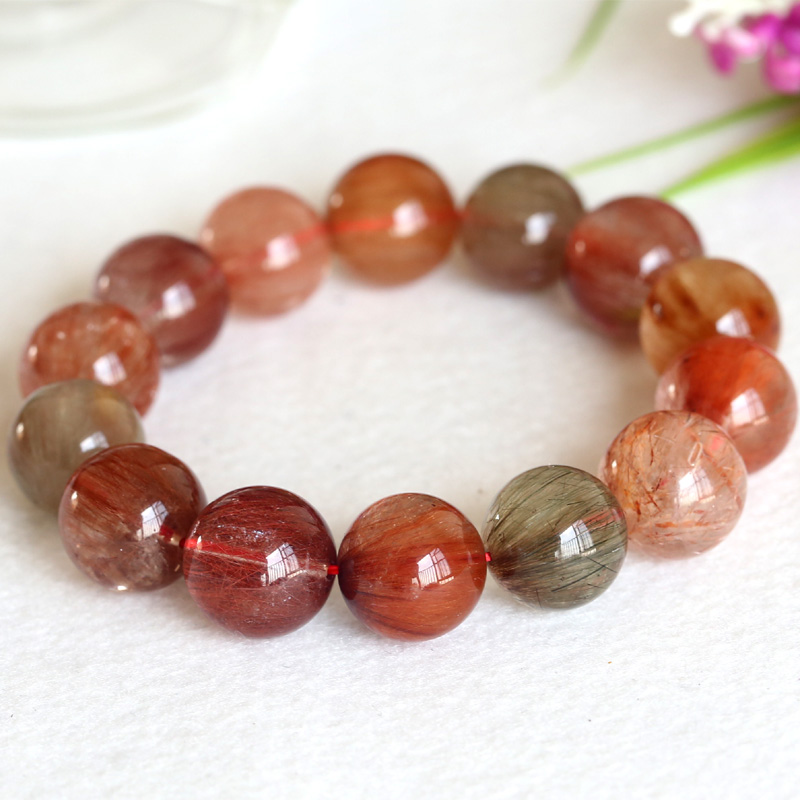 High Quality Natural Rainbow Red Green Yellow Orange Hair Rutile Quartz Stretch Men Brac ...