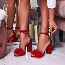 New 2019 Women Sandals Fashion Shoes Thick High Heels Ankle Strap Black Rabbit's Hair Dress Shoes Woman Sandals