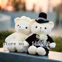 free shipping 18cm hight Teddy Bear Bride and Groom Wedding Cake Topper for wedding cake decorations wedding car decoration