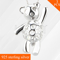 LGSY 925 Sterling Silver Necklace Pendant For DIY Pearl Necklace Dancing Bear Locket Hollowed Skeleton Cage