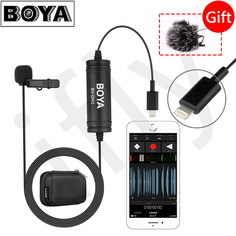 BOYA BY DM1 Lavalier Microphone Clip on Mic with lightning connector for iPhone Xs XMax XR