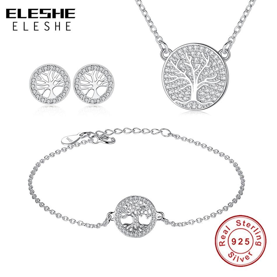 ELESHE 925 sterling silver Tree Life jewelry set necklace earring bracelet totem lady wife girl friend women wedding Valentines tree girl
