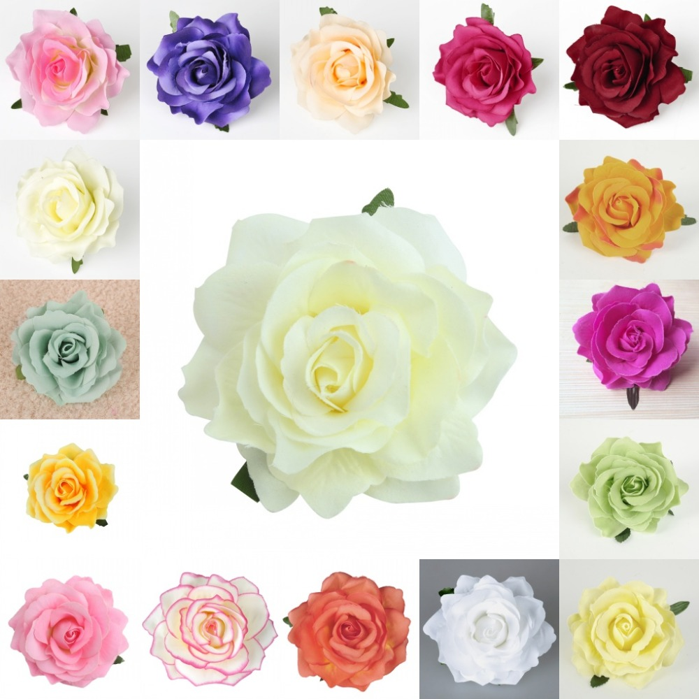 Flower heads for crafts - 50pcs 10cm Rose Flower Heads Artificial Silk Craft For Kissing Ball Bouquet Flower Wall Party Wedding