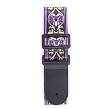 135cm Long 5cm Wide Floral Printed Guitar Bass Strap Polyester w/ Leather Head Purple