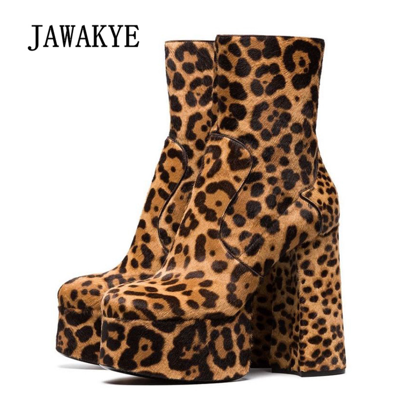 2018 Leopard Platform Boots Woman Round Toe Real Leather 13CM High Heel Boots Woman Fashion Ankle Boots