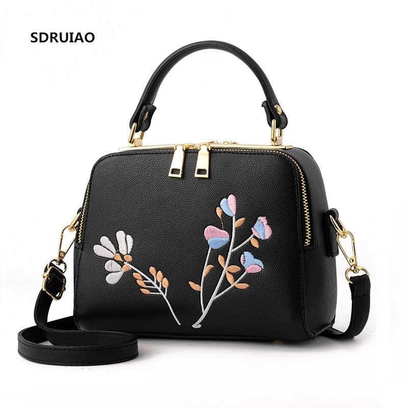 Luxury Women Leather Handbag Women Messenger Bag Female Leather Shoulder Bag Womens Embroidery Flower Handbag Sweet Tote Bag ...