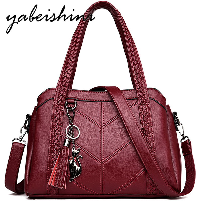 2018 Winter Women Casual Tote Bag Tassel Pendant Female Handbag Designer Leather Handbags Crossbody Messenger Bag Sac A Main