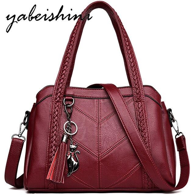 패션 여성 가방 어깨 가방 여성 Tassel 럭셔리 핸드백 여성 가방 디자이너 sac 주요 브랜드 가죽 crossbody 가방