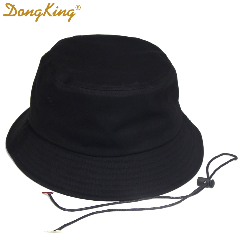 DongKing Big Size Bucket Hats Windproof String Hat Big Large Head Outdoor Bucket Caps Top Quality Cotton Pig Nose Buckle Adult