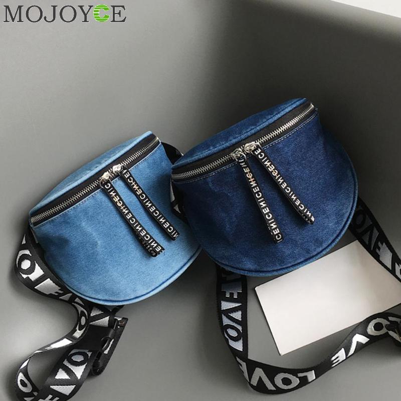 Denim Waist Bag Belt Letter Fanny Packs Designer Letter Chest Handbag Casual Travel Shoulder Bags for Women 2018 Phone Purse Sac