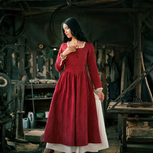 SHCAI New Spring Autumn Women Court Style Vintage&Retro Lace Patchwork Cotton Linen Sexy Slit Dark Red Princess Long Dress
