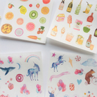2 Sheets /Pack Unicorn Delicious Food Washi Paper Adhesive Stickers Stick Label Decoration Stickers