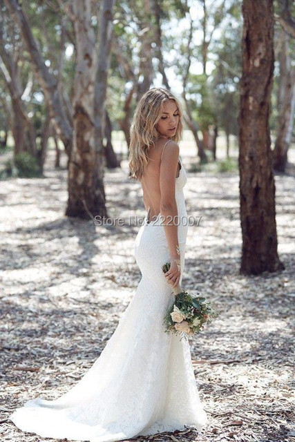 Backless Wedding Dresses Mermaid Spaghetti Strap Y Full Lace Dress Sweep Low Back White