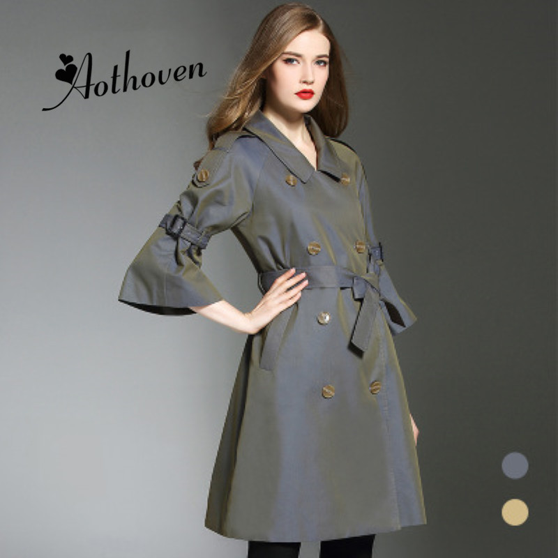 High-end Plus Size Women's   Trench   Coat 2018 Autumn Winter Three-quarter Sleeve Long Design Double Breasted Windbreaker Overcoat