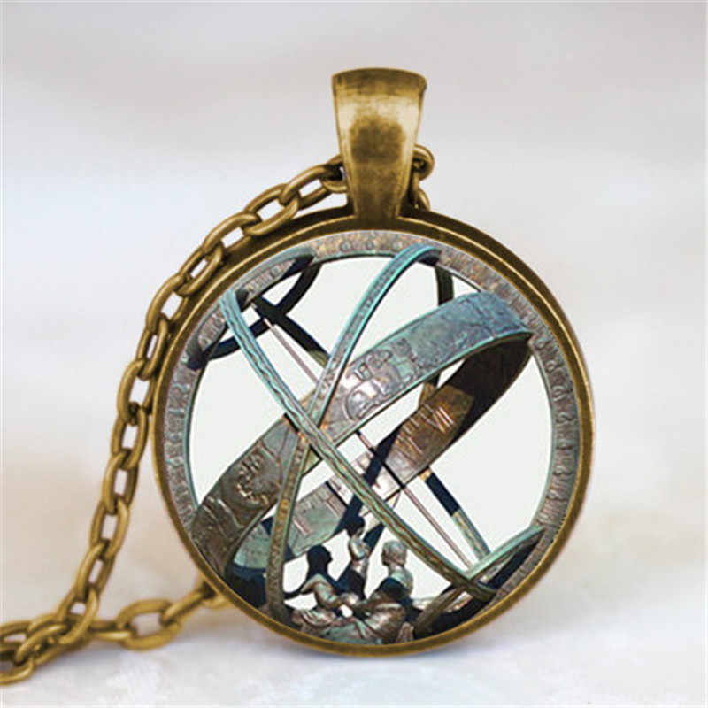 Astronomical Sundial Globe Pendant Astronomy Necklace Aqua Bronze Astrological Vintage Astronomy Science Jewelry