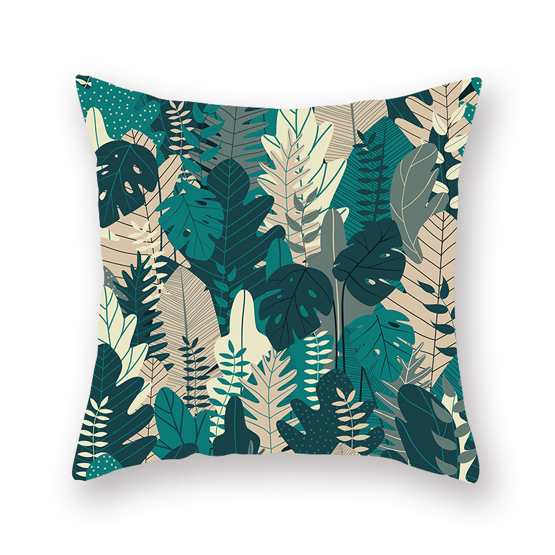 Slowdream Nordic Style Pillow Cases Decorative Home For Bed Sofa Chair Car Throw Cushion Cover Green Leaf Printing Pillowcase in Cushion Cover from Home Garden