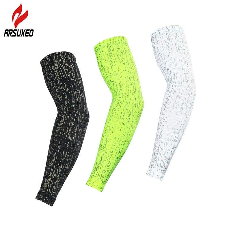 ARSUXEO manga de brazo reflectante para protección solar manguitos de ciclismo para brazo bicicleta Golf deportes al aire libre calentadores de brazos mangas