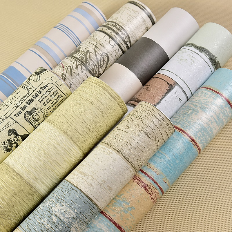 Self - adhesive wallpaper waterproof European - style wood wallpaper thick dormitory background wall stickers-183