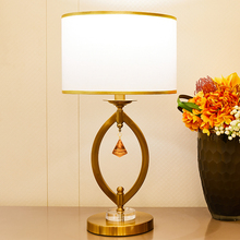 Copper Color Metal Table Lamps With Crystal Pendant Led For Bed Room Living 110v 220v Luxurious Lamp