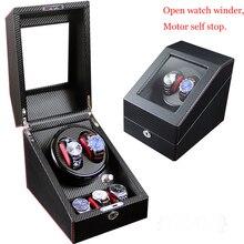 купить 2019 New design, brand automatic watch winder box luxury case open rotate motor stop gift watch jewelery cabinet display storage по цене 5852.05 рублей