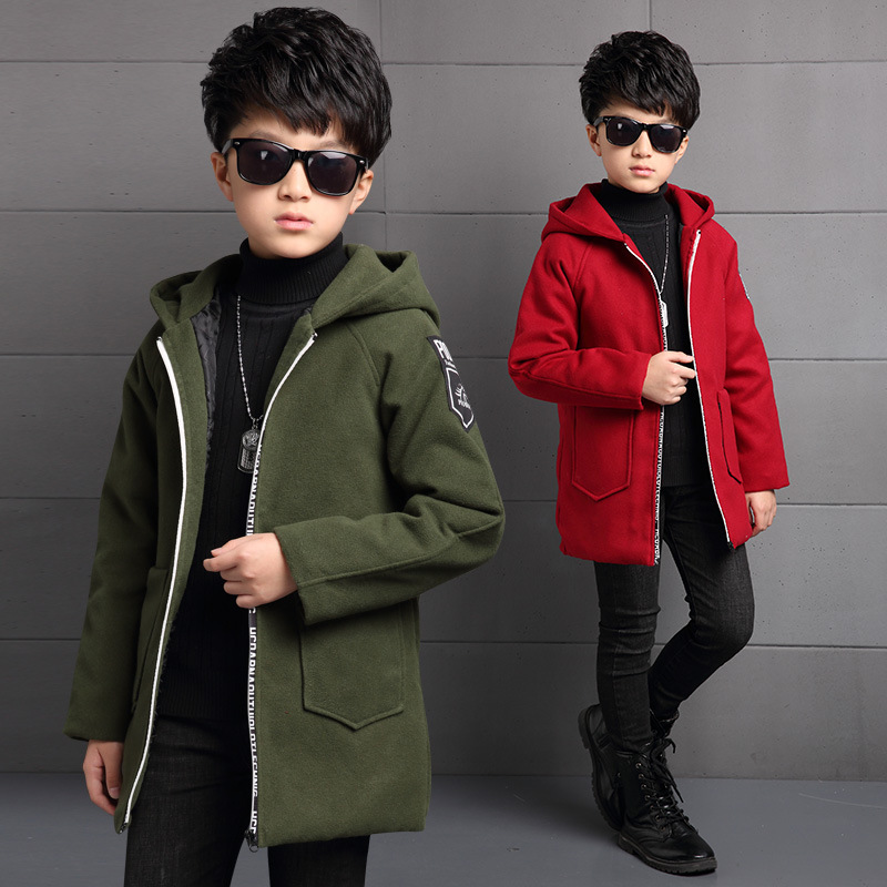 Children's Clothes Autumn Winter (Wool Coat for Boys Long Sleeves Velvet Horses Cotton Blouses 4-14 Ages Green Red Color stylish cowl neck long sleeves color match batwing irregular design cotton blend sweater for women