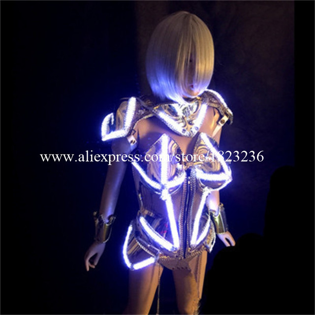 Fashion Led Luminous Female Armor Illuminate Gold Plated Nightclub Party Stage Ballroom Dress Clothes Women Costume