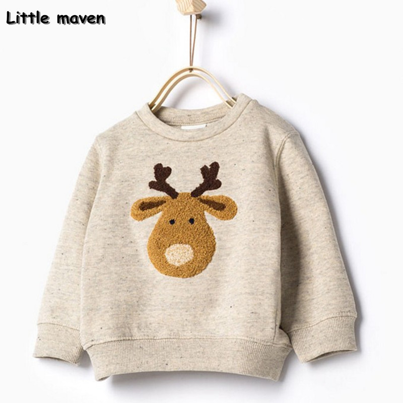 Little maven children brand clothing autumn spring boys clothes cotton long sleeve O-neck lovely deer t shirt kids tops CT008