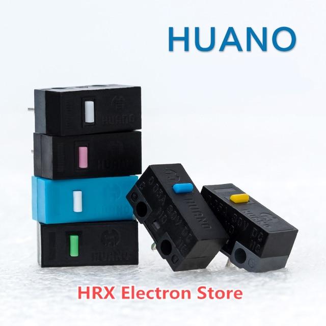 HUANO Micro interruptor de ratón, botón de contacto de plata (carcasa azul/rosa/amarillo/verde/blanco), 6 colores, 100 unids/lote