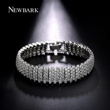 NEWBARK Silver Color Round CZ Stone Bracelet Bangle Paved Cubic Zirconia Bracelets For Ladies Femme Bridal