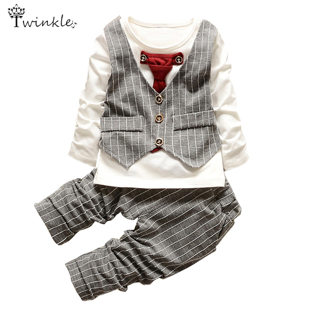 Baby Boys clothes set fashion infant clothing baby girl suits formal gentleman long sleeve Necktie Wedding Birthday Outfits