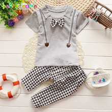 2Piece/0-3Years/Summer Baby Boys Suits Costume Kids Clothes Casual White Gray T-shirt+Plaid Shorts Children Clothing Sets BC1134
