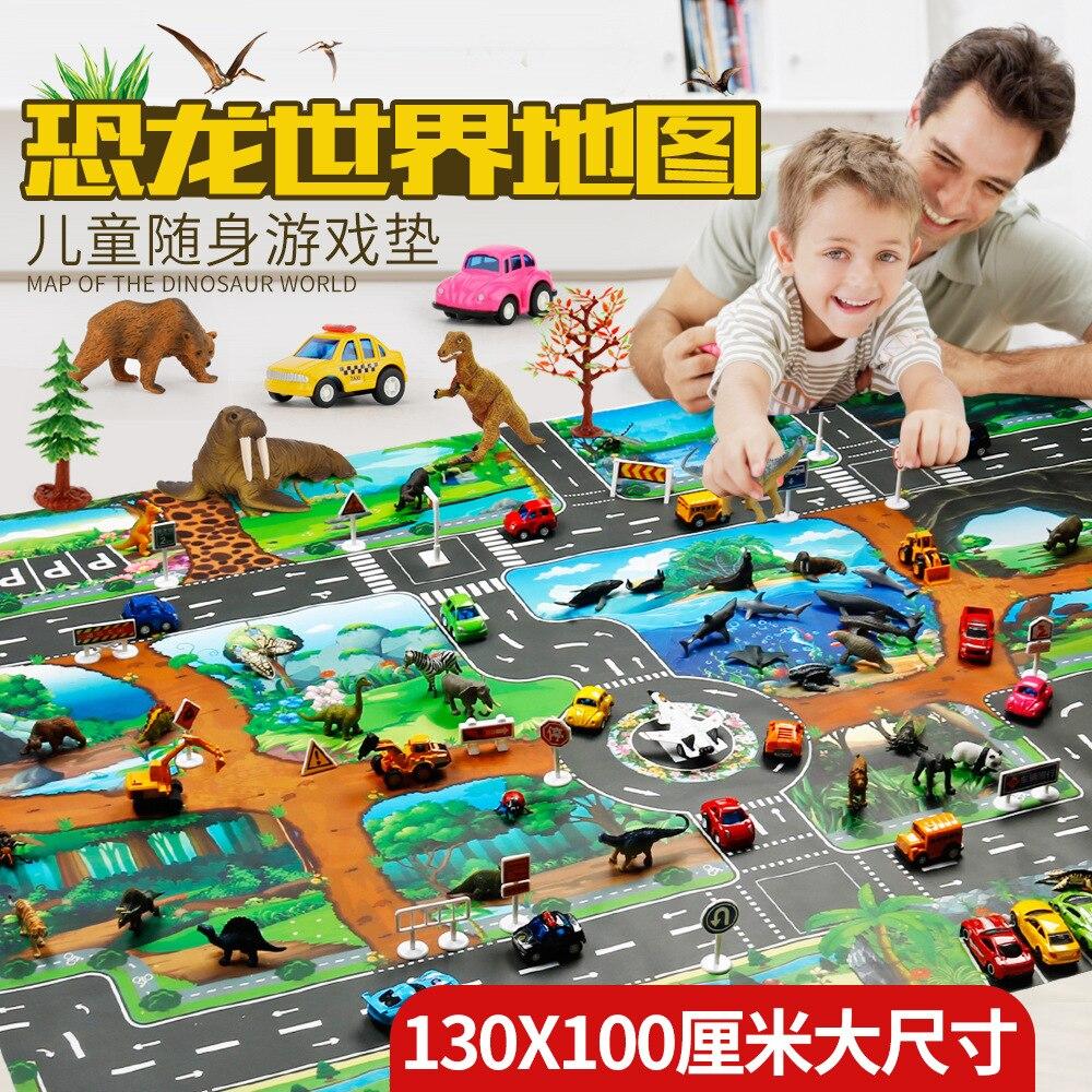 130*100cm Dinosaur World Traffic Parking Map Children Toy Game Mat Traffic Sign Kids Girls Boys Play Mats Animal Models Toys