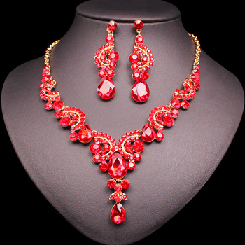 Fashion Crystal Jewelry Sets Jewelry Jewelry Sets Women Jewelry Metal Color: 2 pcs suit red