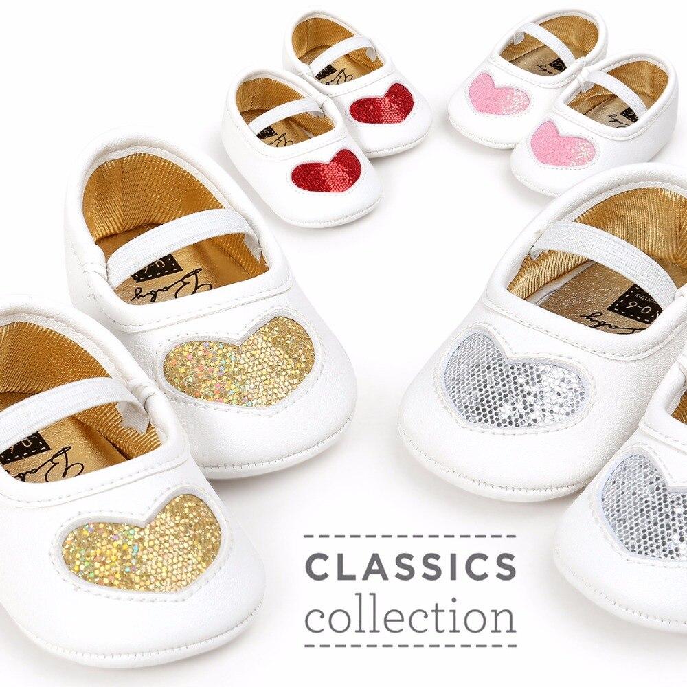 Romirus 2018 Toddler Newborn Baby Crib Shoes Bling Heart Princess Baby Soft Sole Anti-Slip Prewalker For Baby Girls First Walker