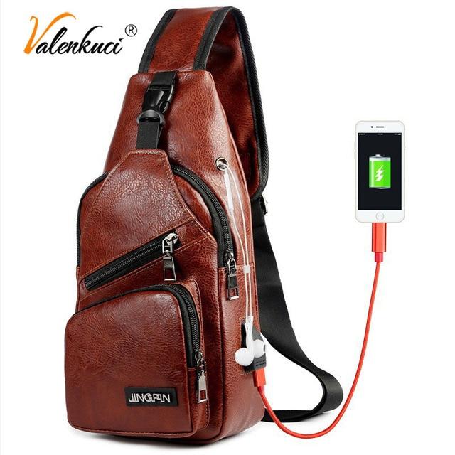 b0db0f740b Valenkuci USB Charging Leather Chest Bag Men Waterproof Anti-theft Crossbody  Bags for Women Headphone Shoulder Chest Men USB Bag