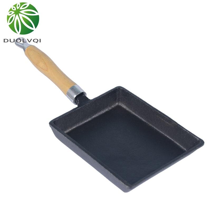 Duolvqi японский чугун омлет пан антипригарным сковорода Фрай яйцо Пан блин пот Кухонная посуда 13x18 см