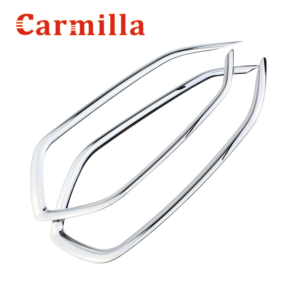 Carmilla Car ABS Chrome Front & Rear Fog Lamp Cover Sticker For Hyundai Tucson 2015 2016 Accessories car front fog lamp cover rear tail fog lamp cover trim abs chrome fit for citroen c4l 2013 2014 2pcs per set