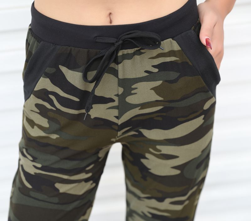 Sweatpants Harem Como Pants Drawstring Pantaloons Loose Female High Waist Pocket 12