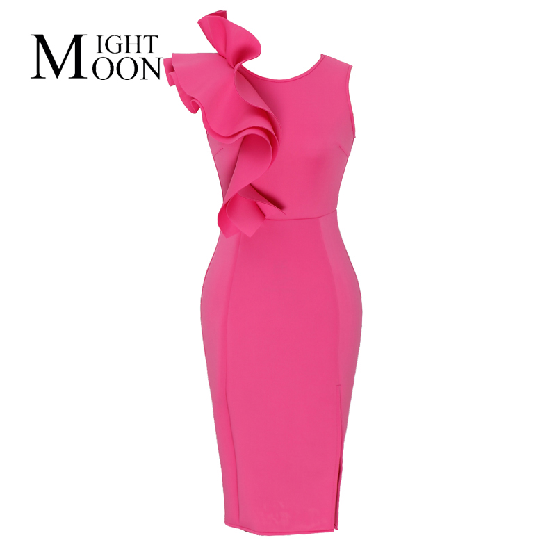 MOONIGHT Pink Right Side Ruffles Back Zipper Bodycon Dress Sexy Woman Night Out Club Wear High Legs Slit Knee-length Dresses