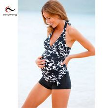 Tankini 2017 New Women Halter Two piece Swimsuit Pregnancy Maternity Floral Plus Size Swimwear Print Bathing