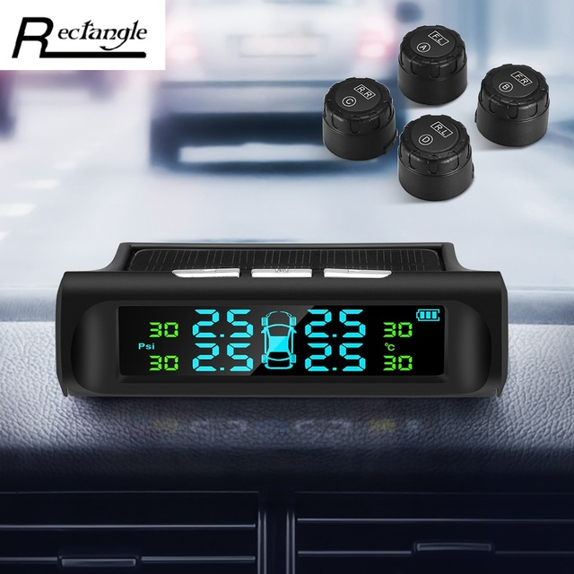 Rectangle TPMS Solar Power Car Tyre Pressure Monitoring System with 4 External Sensors Digital Display for Driving Safety